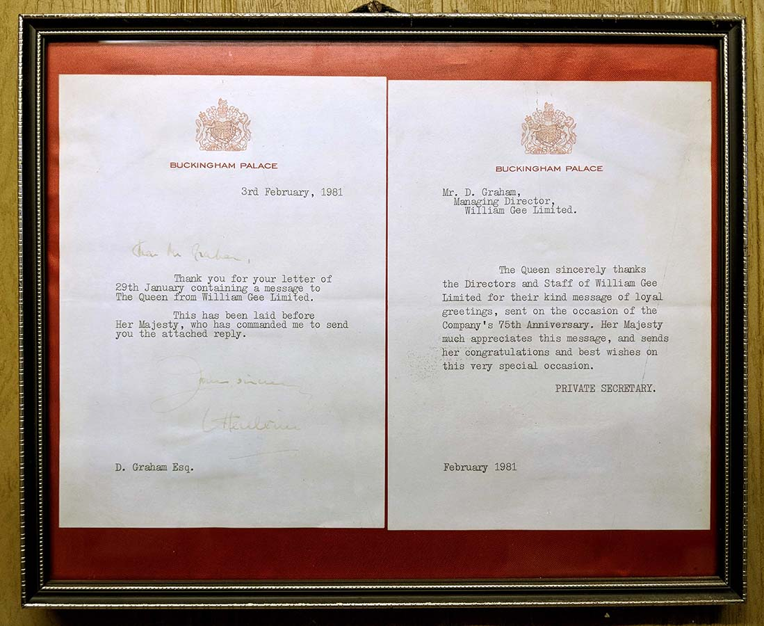 Letter from Her Majesty the Queen on the occasion of William Gee's 75 anniversary