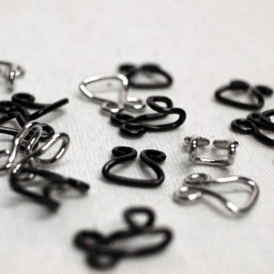 Corset Hooks and Eyes in Silver and Black