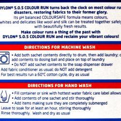 Dylon Colour Run Remover - back cover