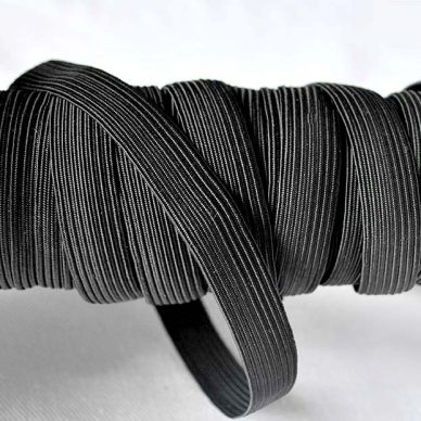 Flat Elastic in Black 11mm - 16 cord