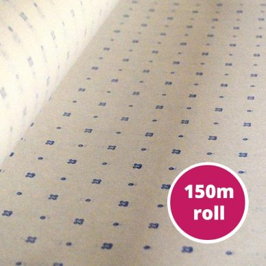 Spot and Cross Pattern Paper with blue markings - 150m roll approx