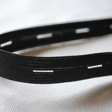 Buttonhole Elastic in Black 15mm by William Gee