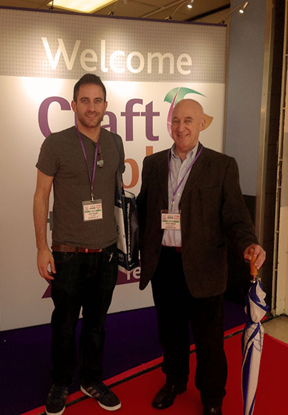 Adam and Feff outside Craft Hobby Stitch at the NEC