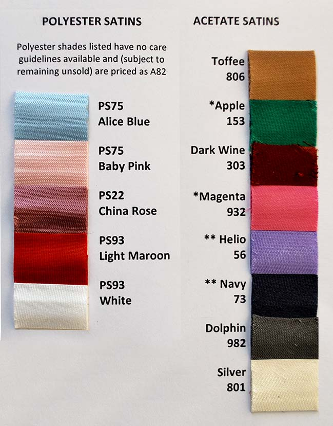 Bias Binding Satin Shade Card