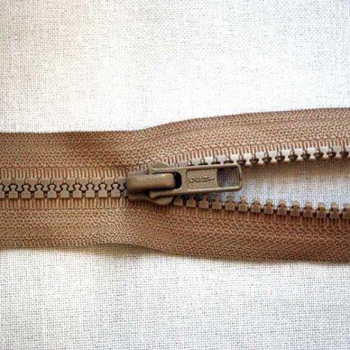 Plastic No. 5 Open Ended Unbranded Zip - Beige
