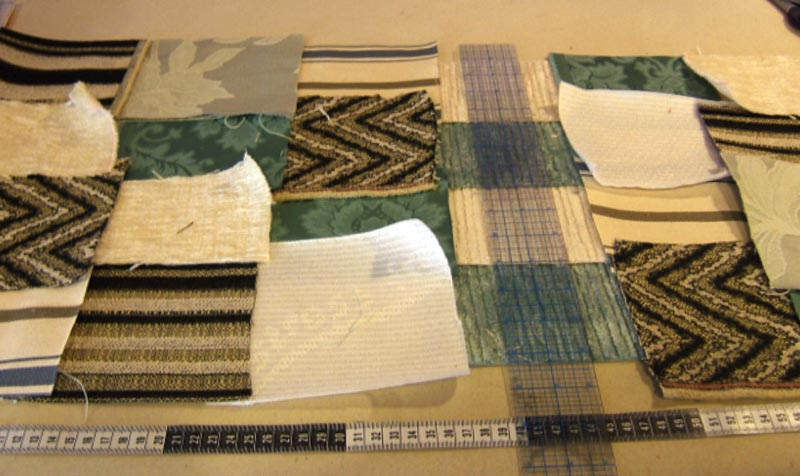 Lay you fabric on a flat surface and cut into squares