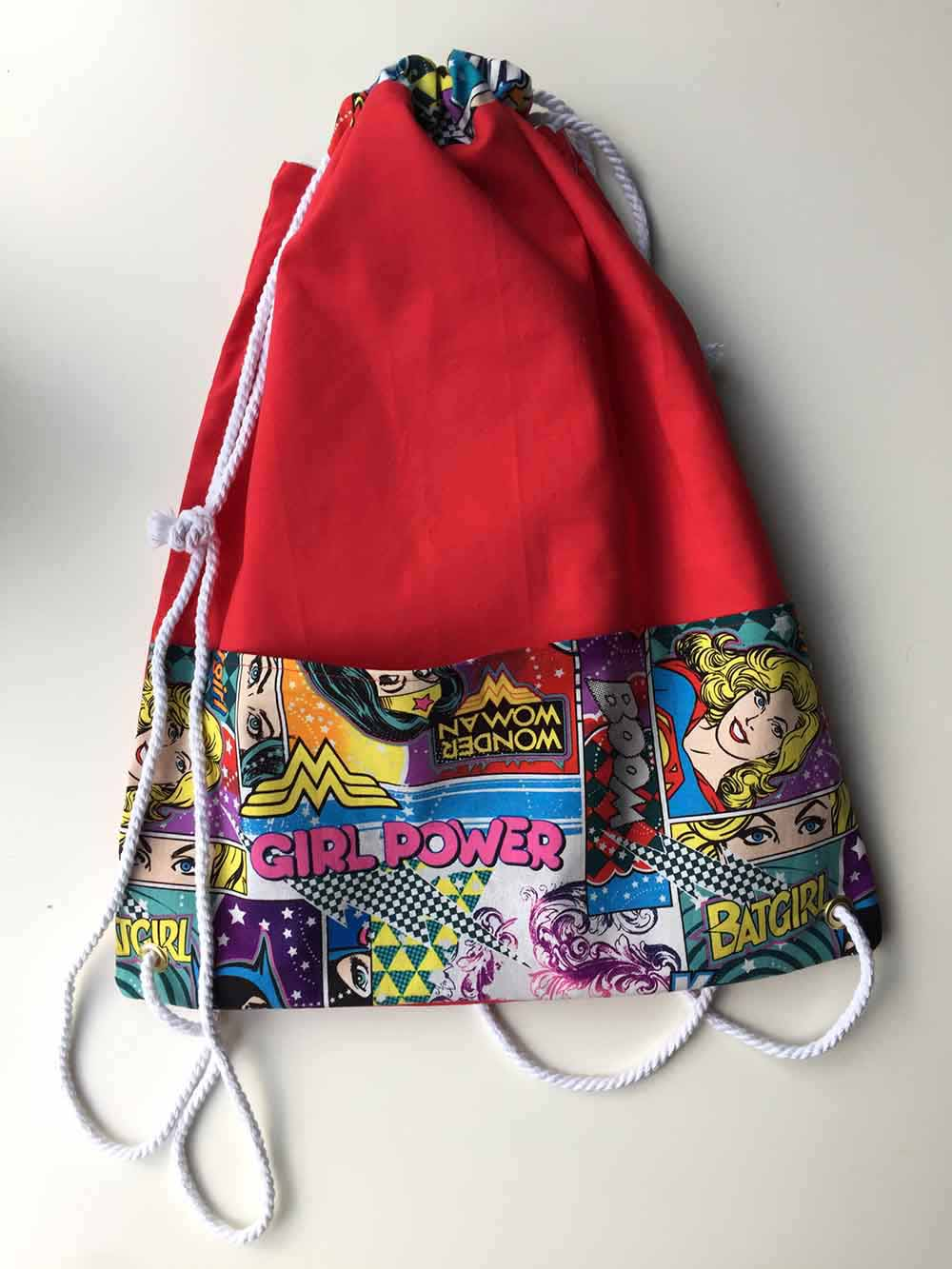 Finished Drawstring backpack