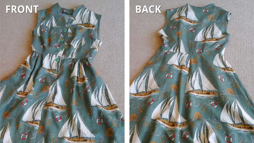 Finished dress back and front