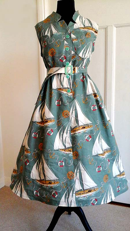 Finished dress with belt and addition of petticoat