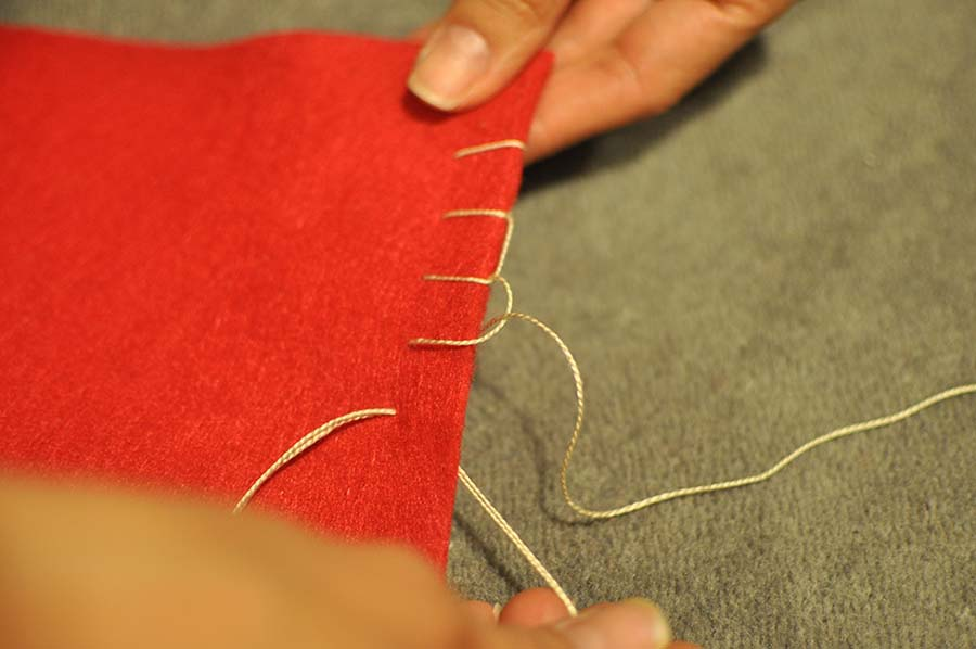 Blanket Stitch the Stocking