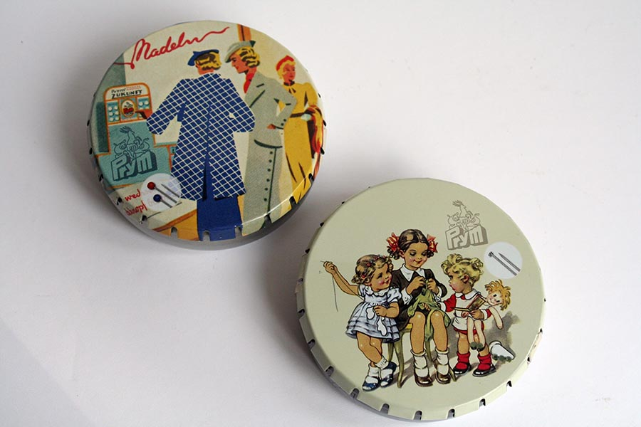 Prym Retro Pin Tins with quick release lids