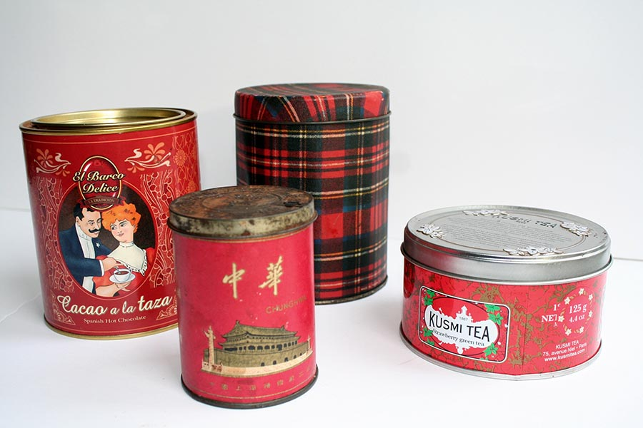 Red Themed tins - tea and hot chocolate
