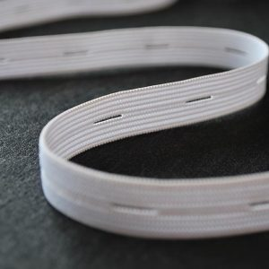 Buttonhole Elastic in White 15mm