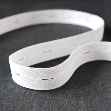 Buttonhole Elastic in White 19mm by William Gee