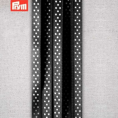 Prym Polka Dotted Satin Ribbon 6mm - Black