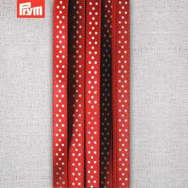 Prym Polka Dotted Satin Ribbon 6mm - Red