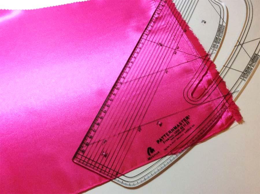 Cut a strip of fabric on the bias grain