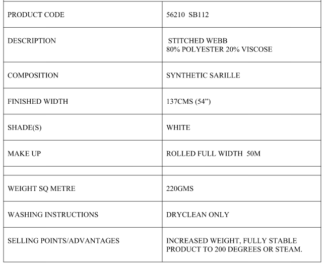 Bump Interlining Tech Sheet