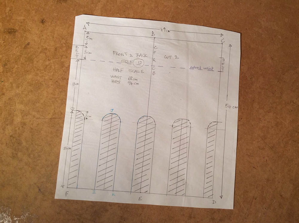 A half scale diagram for the whole front of the skirt, the back is exactly the same.