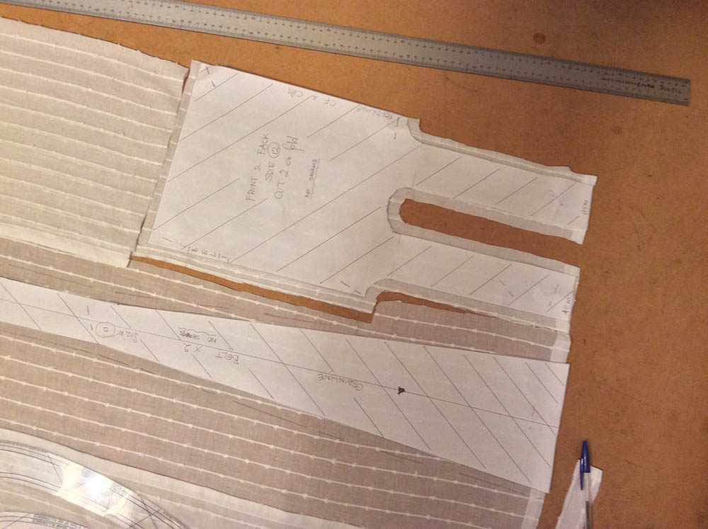 The front skirt pattern pinned on the fold with all seam allowances added to the fabric