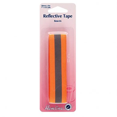 Hemline Reflective Tape 25mm Fluorescent Orange - William Gee