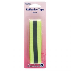 Hemline Reflective Tape 25mm Fluorescent Yellow - William Gee