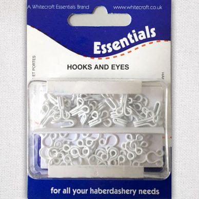 Whitecroft Essentials Haberdashery - White Brass Hook and Eyes Size 2 - William Gee