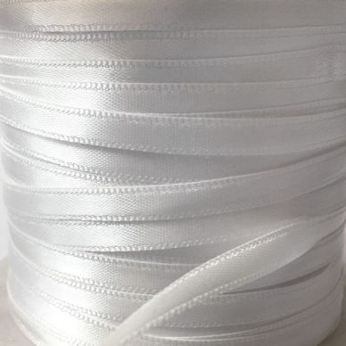 Double Faced Satin Ribbon 6mm in White 200m roll - William Gee