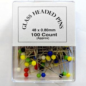 Glass Headed Pins 48mm x 0.8mm - William Gee