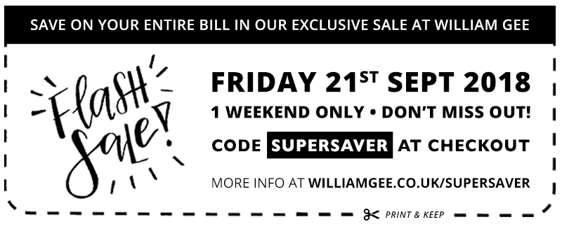 William Gee Sept 2018 Flash Sale Coupon