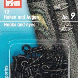 Prym Jerkins Hook and Eyes No 9 in Black - William Gee UK