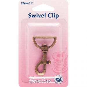 Hemline Swivel Clip 25mm in colour bronze - William Gee UK
