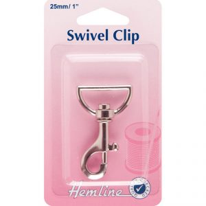 Hemline Swivel Clip 25mm in colour silver - William Gee UK