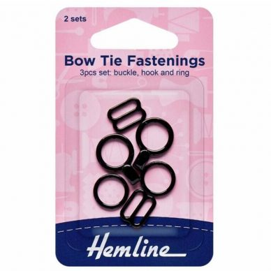 Hemline Bow Tie Fastenings Black - William Gee UK