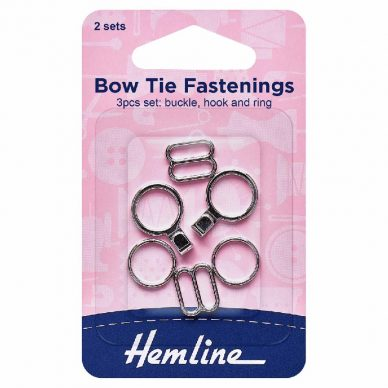 Hemline Bow Tie Fastenings Silver - William Gee UK