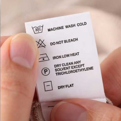 Care Labels & Washing Instructions