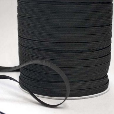 6 cord Flat Elastic 5mm in BLACK - William Gee UK