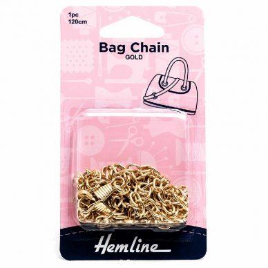 Hemline Bag Chain Gold colour 120cm - William Gee UK