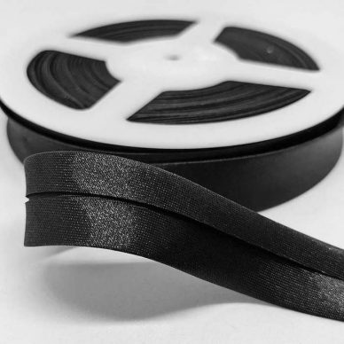 Satin Bias Binding 19mm Black - William Gee UK