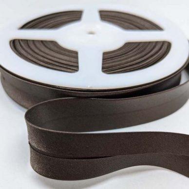 Satin Bias Binding 19mm Chocolate Brown - William Gee UK