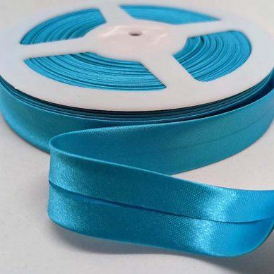 Satin Bias Binding 19mm Kingfisher Blue - William Gee UK