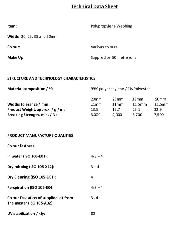 Tech Sheet Polypropylene Webbing