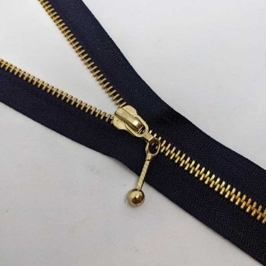 Antique Number 5 open ended zips brass 76cm - William Gee UK